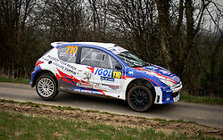 17 March 2018. St Denoeux, Pas de Calais, France.<br /> The 58th Rally Du Touquet blasts through the narrow country lanes above the town of Saint Denoeux.<br /> Photo&copy;; Charlie Varley/varleypix.com
