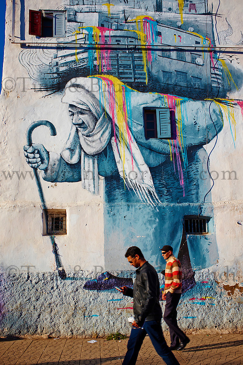 Maroc, Casablanca, peintures murales dans le centre ville// Morocco, Casablanca, Mural painting, city center