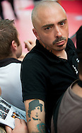 Fan of Stallone with tattoo attend the ' Expendable 3' Movie Premiere at the 'UGC Normandie, in Paris.<br /> <br /> Paris, France 07 août 2014.