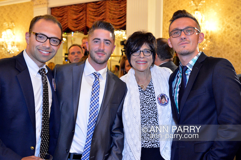 Garden City, New York, USA. 3rd November 2015. R-L, KEVIN BRADY, RITA KESTENBAUM, CHRIS MELNYCZUK, and ANDREW GOLDSTEIN attend the Election Night Party of the Nassau County Democrats, at the Garden City Hotel. Kestenbaum was the Democratic candidate for Town of Hempstead Supervisor.
