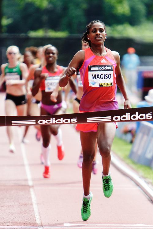 Samsung Diamond League adidas Grand Prix track & field; women's 800 meters, Fantu Magiso, ETH, winner (her 20th birthday), finish