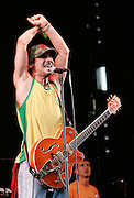 Manu Chao performs live on stage during day one of the Love Box Weekender at Victoria Park on July 19, 2008 in London England.  (Photo by Simone Joyner)