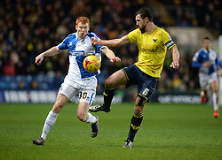 Rory Gaffney of Bristol Rovers battles for the ball with Jake Wright of Oxford United - Mandatory byline: Alex James/JMP - 17/01/2016 - FOOTBALL - The Kassam Stadium - Oxford, England - Oxford United v Bristol Rovers - Sky Bet League Two