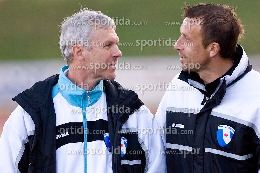 Head coach of Gorica David Persic and his assistant Miran Srebrnic at football match of 25th Round of 1st Slovenian League  between NK Interblock and NK Hit Gorica, on March 31, 2010, in ZAK Stadium, Ljubljana, Slovenia. Gorica defeated Interblock 5-0. (Photo by Vid Ponikvar / Sportida)