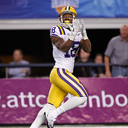 Jan 7, 2011; Arlington, TX, USA; LSU Tigers running back Richard Murphy (18) during warm ups prior to kickoff of the 2011 Cotton Bowl against the Texas A&M Aggies at Cowboys Stadium. LSU defeated Texas A&M 41-24.  Mandatory Credit: Derick E. Hingle