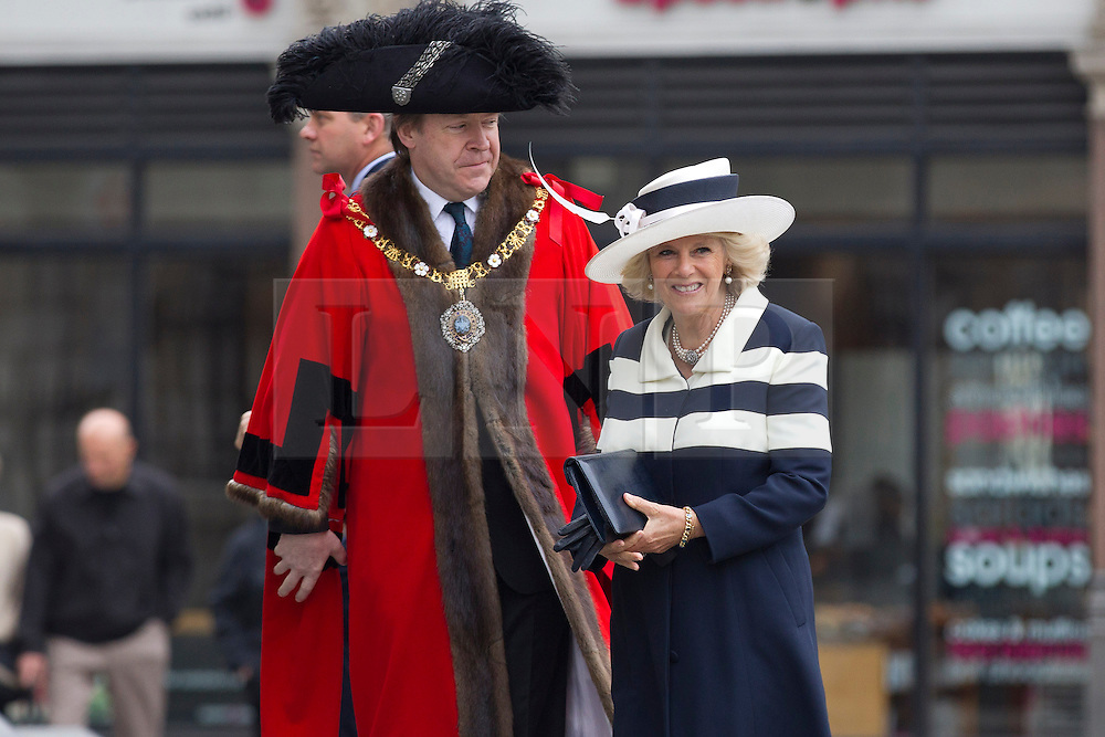 © Licensed to London News Pictures. 22/05/2013. London, UK. The Duchess of Cornwall is seen with the Lord Mayor of London as she arrives at St Paul's Cathedral in London today (22/05/2013) to attend a service of thanksgiving to celebrate the 75th anniversary of the Royal Voluntary Service (RVS). The RVS, previously known as the Women's Royal Voluntary Service (WRVS), is a charity organisation that helps older people live independent lives across Great Britain. Photo credit: Matt Cetti-Roberts/LNP