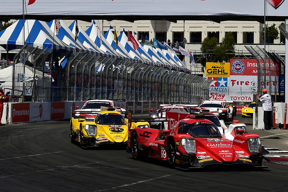 #99 JDC/Miller Motorsports ORECA 07, P: Stephen Simpson, Mikhail Goikhberg, #85 JDC/Miller Motorsports ORECA 07, P: Simon Trummer, Robert Alon<br /> Saturday 14 April 2018<br /> BUBBA burger Sports Car Grand Prix at Long Beach<br /> Verizon IndyCar Series<br /> Streets of Long Beach CA USA<br /> World Copyright: Scott R LePage<br /> LAT Images
