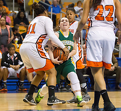 Greenbrier East guard Alexis Tincher (23) runs into South Charleston center Aryaunne Mosley (41) during a first round game at the Charleston Civic Center.