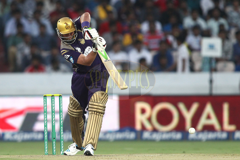 Jacques Kallis of the Kolkata Knight Riders drives a delivery during the first semi final match of the Oppo Champions League Twenty20 between the Kolkata Knight Riders and the Hobart Hurricanes held at the Rajiv Gandhi Cricket Stadium, Hyderabad, India on the 2nd October 2014<br /> <br /> Photo by:  Shaun Roy / Sportzpics/ CLT20<br /> <br /> <br /> Image use is subject to the terms and conditions as laid out by the BCCI/ CLT20.  The terms and conditions can be downloaded here:<br /> <br /> http://sportzpics.photoshelter.com/gallery/CLT20-Image-Terms-and-Conditions-2014/G0000IfNJn535VPU/C0000QhhKadWcjYs