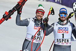15.03.2017, Aspen, USA, FIS Weltcup Ski Alpin, Finale 2017, Abfahrt, Herren, Siegerpräsentation, im Bild Peter Fill (ITA, 2. Platz und Abfahrts-Weltcupsieger) und Dominik Paris (ITA, 1. Platz und 3. Platz Abfahrts-Weltcup) // second placed and Downhill World Cup winner Peter Fill of Italy and race winner and Downhill World Cup third placed Dominik Paris of Italy during the winner presentation for men's downhill of 2017 FIS ski alpine world cup finals. Aspen, United Staates on 2017/03/15. EXPA Pictures © 2017, PhotoCredit: EXPA/ Erich Spiess