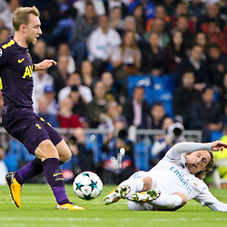 Luka Modric of Real Madrid ND Christian Eriksen of Tottenham Hotspur in action during Uefa Champions League (Group H) match between Real Madrid and Tottenham Hotspur at Santiago Bernabeu Stadium on October 17, 2017 in Madrid  (Spain) (Photo by Luis de la Mata / SportPix.org.uk)