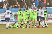 The players clash during the Vanarama National League match between Barrow and Forest Green Rovers at Holker Street, Barrow, United Kingdom on 28 January 2017. Photo by Mark Pollitt.