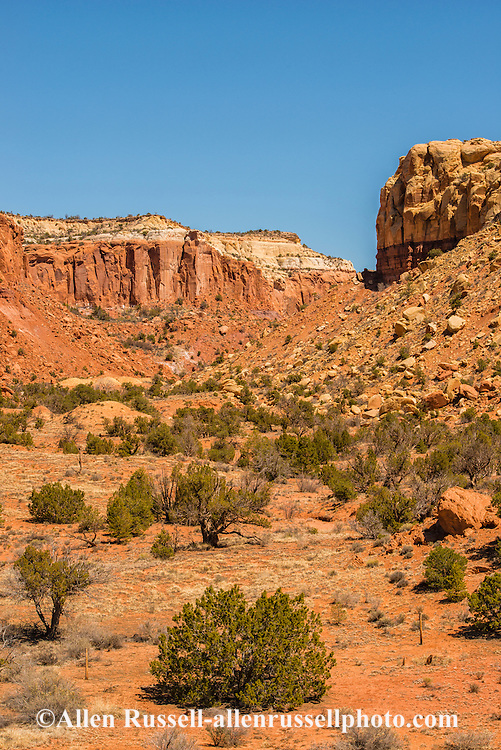 Redrock cliffs,  Carson National Forest, outside Abiquiu, New Mexico