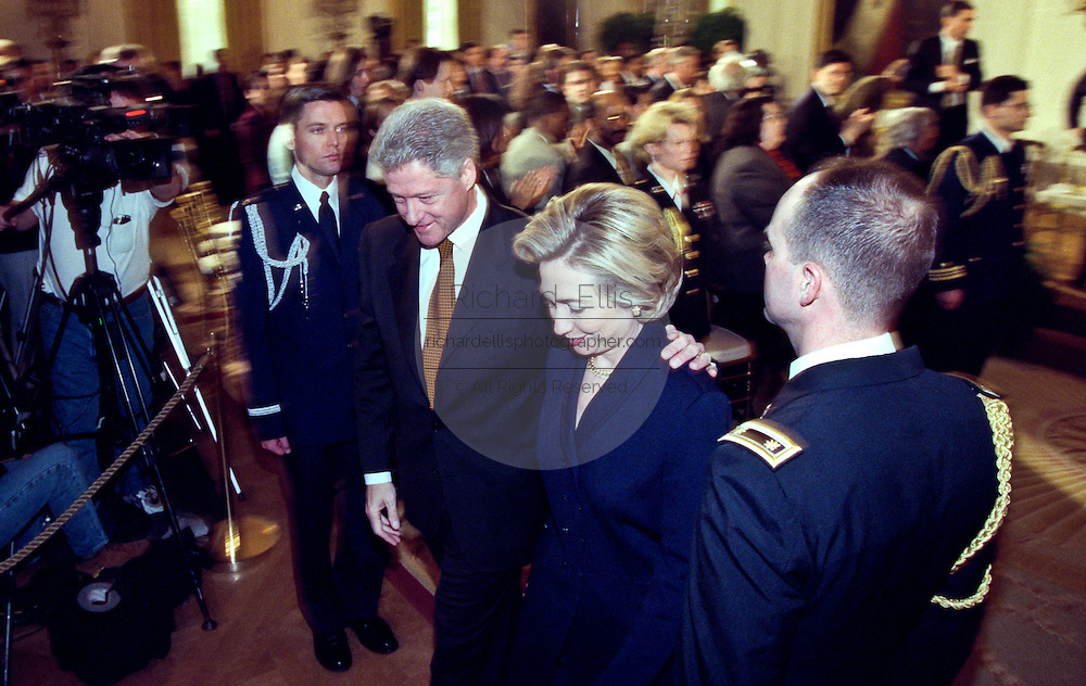US President Bill Clinton and First Lady Hillary Clinton leave after a event on Social Security February 17, 1999 at the White House in Washington, DC.