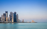 DOHA, QATAR - CIRCA DECEMBER 2013: View of the Doha skyline