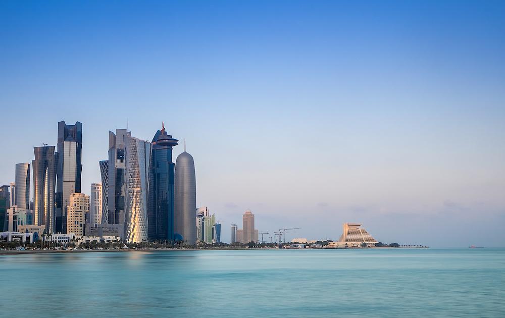 DOHA, QATAR - CIRCA DECEMBER 2013: View of the Doha skyline