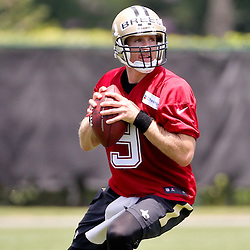 May 28, 2015; New Orleans, LA, USA; New Orleans Saints quarterback Drew Brees (9) during organized team activities at the New Orleans Saints Training Facility. Mandatory Credit: Derick E. Hingle-USA TODAY Sports