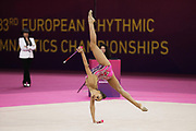 Arina Averina, Russia, during Gold Medal winning club routine during the 33rd European Rhythmic Gymnastics Championships at Papp Laszlo Budapest Sports Arena, Budapest, Hungary on 21 May 2017. She wins ahead of twin Dina who takes silver. Photo by Myriam Cawston.
