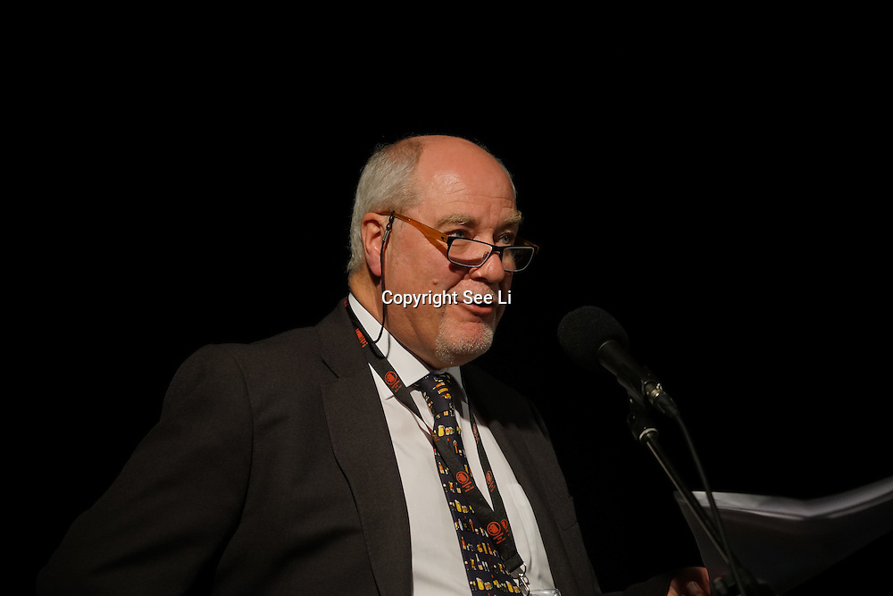 London,England,UK, 9th Aug 2016 : Speaker Nick Boley<br /> is a CAMRA National Executive Members at the Great British Beer Festival Stage (GBBF) at at Kensington Olympia, London, UK. Photo by See Li