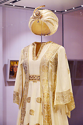 Fashion Rules, major new exhibition of Royal clothing.<br /> Dress from the collections of HM The Queen, Princess Margaret and Diana, Princess of Wales.  Major new exhibition focusing on 20th century Royal clothing. Sponsored by Estee Lauder Companies. Exhibition opens tomorrow.<br /> -Worn by Princess Margaret.  Kaftan and turban, Carl Toms, 1976.  Worn in Mustique, 1976, Kensington Palace, <br /> London, United Kingdom<br /> Wednesday, 3rd July 2013<br /> Picture by Nils Jorgensen / i-Images