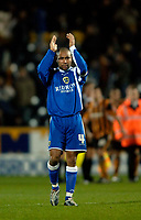 Photo: Jed Wee.<br />Hull City v Cardiff City. Coca Cola Championship.<br />03/12/2005.<br />Cardiff's Jeff Whitley applauds the fans.