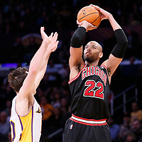 09 February 2014: Chicago Bulls power forward Taj Gibson (22) takes a jumpshot over Los Angeles Lakers point guard Steve Nash (10) during the Chicago Bulls 92-86 victory over the Los Angeles Lakers at the Staples Center, Los Angeles, California, USA.