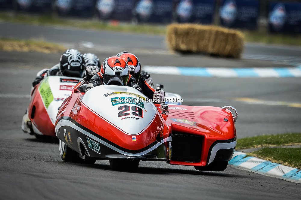 Adam Unsworth and Stu Dawe lead Aaron Lovell and Tracey Bryan in the F1 Sidecars at the Cemetery Circuit Road Races, Wanganui, Boxing Day which was the 3rd and final round of the 2014 Suzuki Series