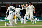 Wicket - Jack Leach of England celebrates taking the wicket of Marnus Labuschagne of Australia during the International Test Match 2019 match between England and Australia at Lord's Cricket Ground, St John's Wood, United Kingdom on 18 August 2019.