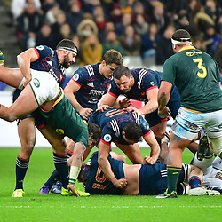 Geoffrey Doumayrou of France (with headband) clears Francois Venter of South Africa out of a ruck during the test match between France and South Africa at Stade de France on November 18, 2017 in Paris, France. (Photo by Dave Winter/Icon Sport)