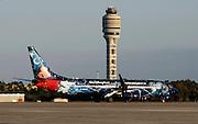 Dec 3, 2013; Orlando, FL, USA; The arrival of WestJet 1414, aka Magic Plane, at Orlando International Airport.