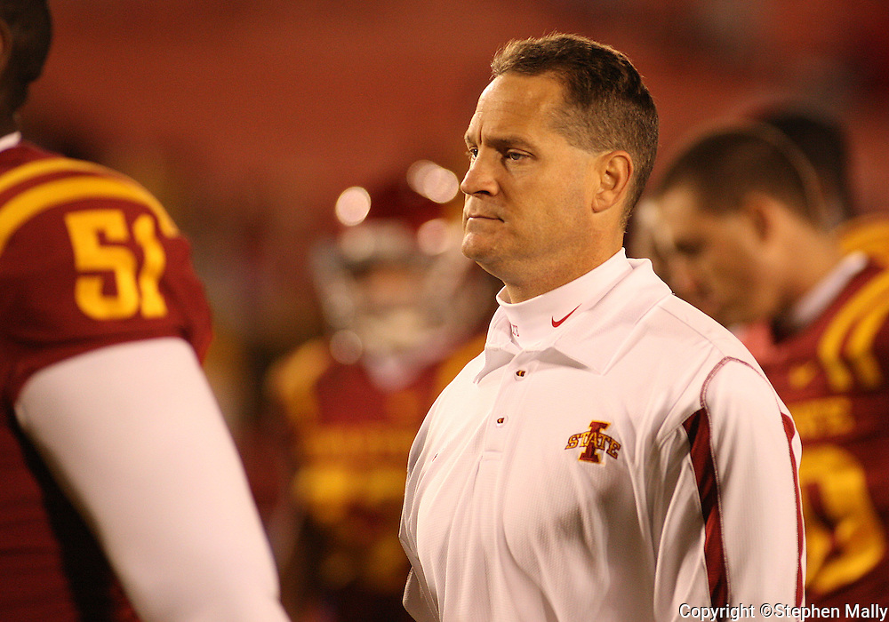 25 OCTOBER 2008: Iowa State head coach Gene Chizik runs off the field after an NCAA college football game between Iowa State and Texas A&M, at Jack Trice Stadium in Ames, Iowa on Saturday Oct. 25, 2008. Texas A&M beat Iowa State 49-35.