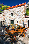 Historic fort and wagon at Roski Slap, Krka National Park, Dalmatia, Croatia
