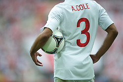 LONDON, ENGLAND - Saturday, June 2, 2012: England's Ashley Cole with an Adidas Tango ball in action against Belgium during the International Friendly match at Wembley. (Pic by David Rawcliffe/Propaganda)
