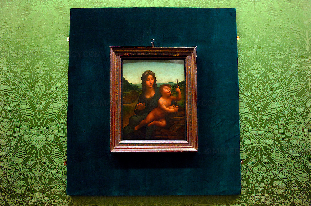 Leonardo Da Vinci's Madonna of the Yarnwinder goes on display at the National Gallery of Scotland from today, Thursday 17th December 2009...In 2003 it was stolen from Drumlanrig Castle, the Dumfriesshire home of the Duke of Buccleuch and Queensberry. ..The Madonna of the Yarnwinder is the only painting by Leonardo Da Vinci in Scotland and is on loan to the gallery from the Duke and the Trustees of the Buccleuch Heritage Trust...Picture shows Leonardo Da Vinci's 'Madonna of the Yarnwinder' on display at the National Gallery of Scotland in Edinburgh.