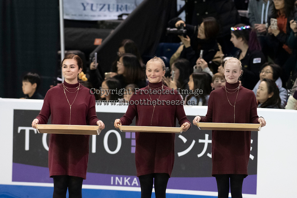 KELOWNA, BC - OCTOBER 26:  Medal ceremonies of Skate Canada International held at Prospera Place on October 26, 2019 in Kelowna, Canada. (Photo by Marissa Baecker/Shoot the Breeze)