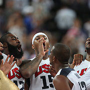 USA celebrate victory during the Men's Basketball Final between USA and Spain at the North Greenwich Arena during the London 2012 Olympic games. London, UK. 12th August 2012. Photo Tim Clayton