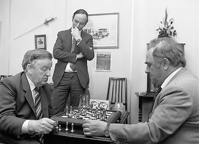 Chess Grand Masters, Clerys,Dublin 1, Ireland.1982.06.05.1982.05.06.1982.6th May 1982. USSR Chess Grandmaster visits Clerys. Mr Yefim Geller made a personal appearance in Clerys. Clerys sponsored the visit in conjunction with the Irish Chess Union, in agreement with the Russian Chess Federation...As Mr Geller plays against Mr Arthur Walls (CEO Clerys) they are watched by Mr Denis Ryan (Co Secretary)