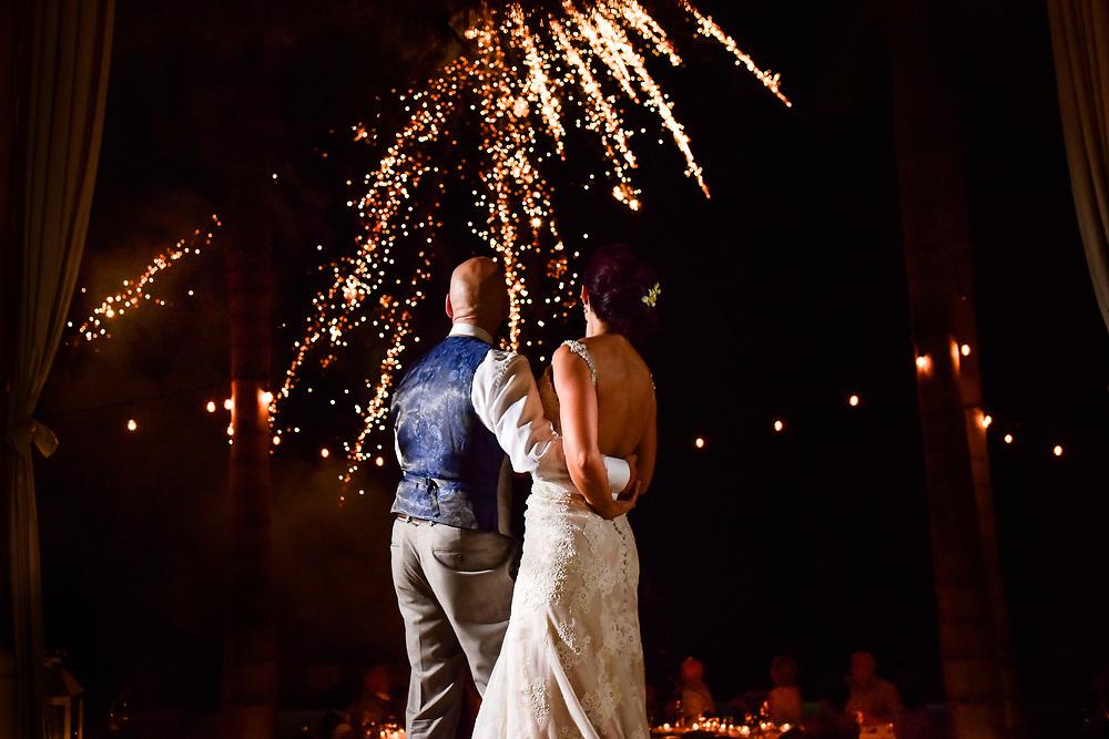 Sarah and Alec's dreamy first dance with fireworks at Casa Koi in Punta Mita, Nayarit. Photo by: Juan Carlos Calderon.
