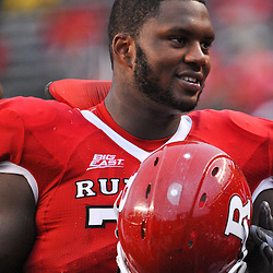 Sep 12, 2009; Piscataway, NJ, USA; Rutgers offensive lineman Anthony Davis (75) during the second half of Rutgers' 45-7 victory over Howard in NCAA college football at Rutgers Stadium