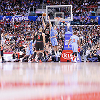 24 November 2013: Chicago Bulls center Joakim Noah (13) goes for the skyhook over Los Angeles Clippers power forward Blake Griffin (32) during the Los Angeles Clippers 121-82 victory over the Chicago Bulls at the Staples Center, Los Angeles, California, USA.