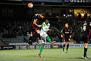 Yeovil Town's Francois Zoko attempts to head a ball towards the goal during the The FA Cup Third Round Replay match between Yeovil Town and Carlisle United at Huish Park, Yeovil, England on 19 January 2016. Photo by Graham Hunt.