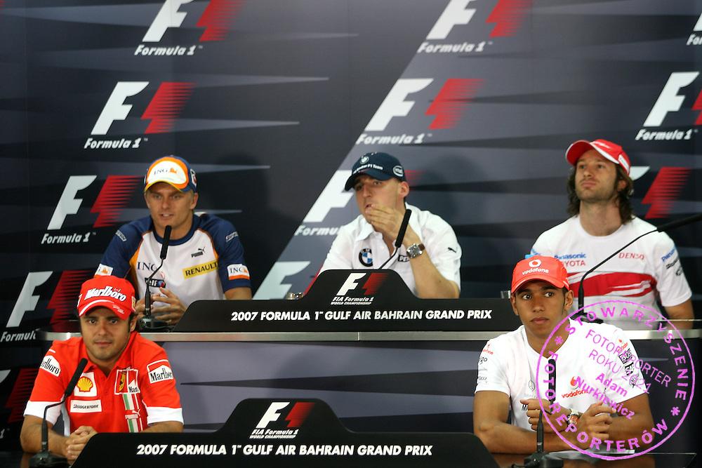 12.04.2007 Sakhir, Bahrain, .top left to bottom right, Heikki Kovalainen (FIN), Renault F1 Team, Robert Kubica (POL),  BMW Sauber F1 Team, Jarno Trulli (ITA), Toyota Racing, Felipe Massa (BRA), Scuderia Ferrari and Lewis Hamilton (GBR), McLaren Mercedes - Formula 1 World Championship, Rd 3, Bahrain Grand Prix, Thursday Press Conference .FOT. XPB.CC / WROFOTO.*** POLAND ONLY !!! ***.NO INTERNET / MOBILE USAGE !!!