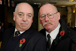 © Licensed to London News Pictures. 13/11/2012.George Flett age 62(right) with Paul Molloy(left) who is  steward at the local sidcup working mens club and future father-in law to the soldier who was insulted..Horse and Groom Harvester restaurant, Main Road, Sidcup, Kent..A 22 year old soldier who is to go to Afghanistan was told to cover up his uniform on Remembrance Sunday by staff at a  restaurant in  Sidcup, Kent..George Flett, an ex-serviceman who served in the army for 10 years, had been to a memorial service at St John's Church, in Church Road, Sidcup, with the 22-year-old soldier.The pair then headed to the Horse and Groom Harvester  in Main Road, Sidcup where after ordering drinks at the bar a manager come up to the pair and asked  that the soldier cover up his uniform as its against the law..Photo credit : Grant Falvey/LNP