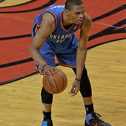 Jun 19, 2012; Miami, FL, USA; Oklahoma City Thunder point guard Russell Westbrook (0) during the fourth quarter in game four in the 2012 NBA Finals against the Miami Heat at the American Airlines Arena. Mandatory Credit: Derick E. Hingle-US PRESSWIRE