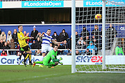 Queens Park Rangers forward Conor Washington (9) scoring goal 1-2 during the EFL Sky Bet Championship match between Queens Park Rangers and Burton Albion at the Loftus Road Stadium, London, England on 28 January 2017. Photo by Matthew Redman.