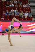 Alina Harnasko, Belarus, during day one of the 33rd European Rhythmic Gymnastics at Papp Laszlo Budapest Sports Arena, Budapest, Hungary on 19 May 2017. Photo by Myriam Cawston.