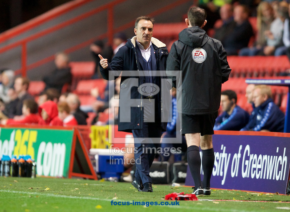 Manager Carlos Carvalhal of Sheffield Wednesday complains to the official when the fans do not give the ball back during the Sky Bet Championship match at The Valley, London<br /> Picture by Alan Stanford/Focus Images Ltd +44 7915 056117<br /> 07/11/2015