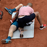 01.06.2018 ITF French Open Tennis Roland-Garros Paris <br /> Kyle Edmunds GBR during Day 6 of the tournament getting court side treatment for an injury. Edmunds lost in 5 sets to Fabio Fognini ITA