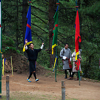 Asia, Bhutan, Bumthang. Archery, the national sport of Bhutan.
