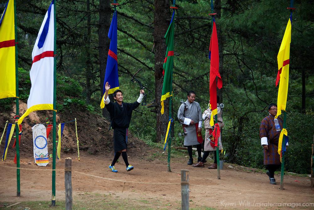 Asia, Bhutan, Bumthang. Archery, the national sport of Bhutan.